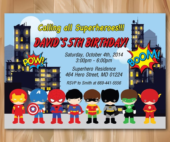 Super Hero Birthday Party Invitation Superhero Pop Art Bday