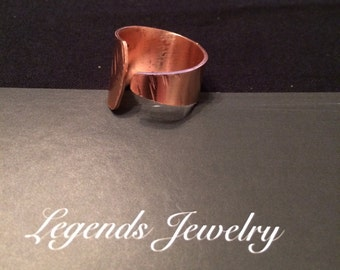 Copper band ring tapered wrap around, men, women, or teenager, handcrafted, textured