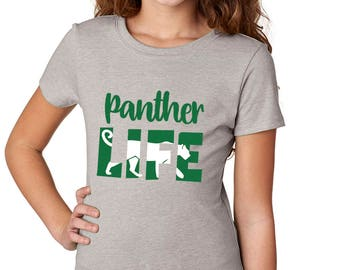 Girls'  Panther Life T-Shirt - School Spirit - Panthers - Heather Gray Girls Shirt