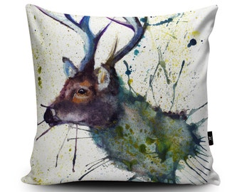 Stag Illustration Cushion by Katherine Williams | Stag Pillow | Deer Cushion | Deer Pillow | Scottish Cushion | Scotland Pillow Case Doe