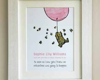 Pooh pink balloon etsy personalised winnie the pooh quote print new baby nursery picture gift pooh bear negle Images