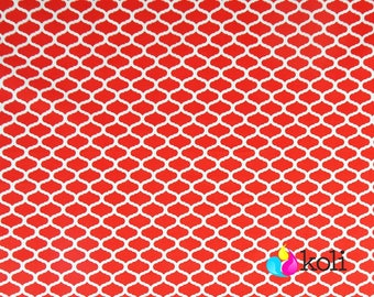 Red mini moroccan print, morocco cotton fabric by the yard