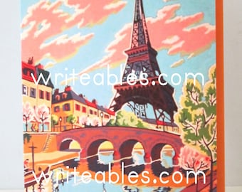 "New ""Vintage Style"" Paint by Number Paris Greeting Card by writeables"