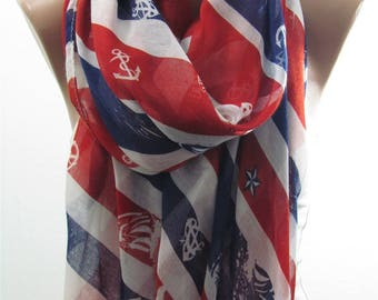 Anchor Scarf Shawl Wrap Red White Blue Scarf Circle Nautical Scarf Infinity Sailor Scarf Accessories Birthday Gift For Her Gift For Mom