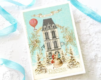 I'll be home for Christmas, Christmas card, romantic couple, white Christmas, holiday card, blank inside