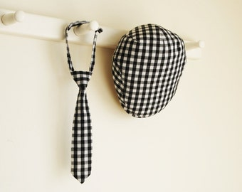 6 months photo prop, black gingham check flat cap set for baby boy, shower gift idea -  made to order