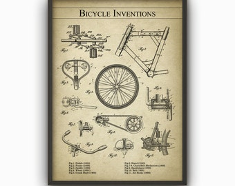 Bicycle Inventions Wall Art Poster - Bicycle Patent Prints - Cyclist Gift Idea - Cycling Art Poster - Vintage Road Bike Patents