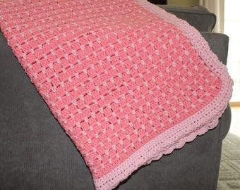 Baby Blanket, Pink Blanket, Crochet Blanket