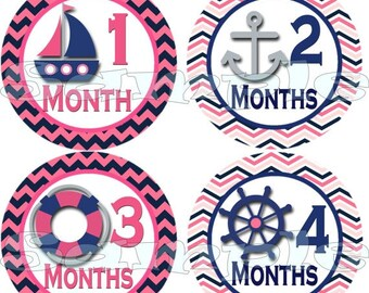 Nautical month to month stickers  Nautical belly stickers Nautical baby month stickers nautical monthly stickers pink blue sailboat