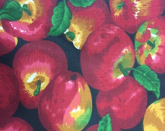 """Black Red Apple Print  Poly Cotton Print Fabric - Sold By The Yard -  59"""""""