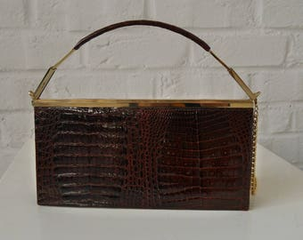 Alligator purse clutch 1970s germany
