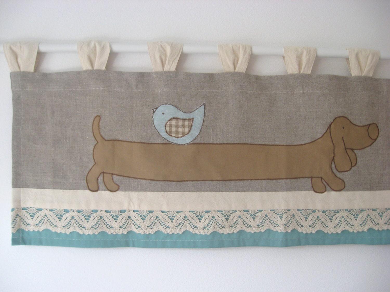 Dackel Hund Volant Küche Vorhang rustikalen Leinen Spitze