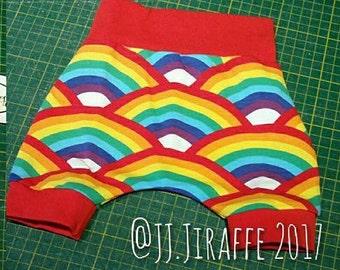 Newborn Shorties Harem Shorts, Homosapiens, Rainbow, Summer Shorts, Organic cotton shorts, Cloth Friendly, Baggy shorts, Baby Shorts SALE