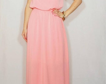 SALE Coral Bridesmaid dress Long dress Chiffon dress Prom dress Keyhole dress