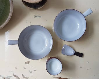 Snackbowl set with scoop, rare Dutch sixties studio ceramics