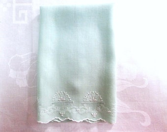 Vintage Guest Towel Jadeite Green Embroidered Antique Linens Bath Hand Towel Cottage Chic Bathroom Decor Handmade Vintage Linens