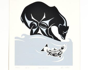 Susan Point 1986 Grizzly Print Musqueam First Nations Art