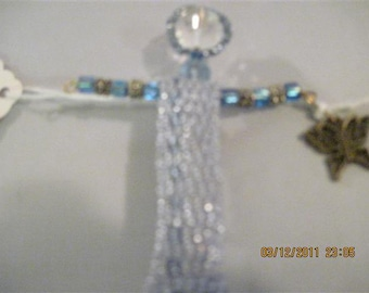 Beaded Lt. Blue Angel Pin with Butterfly Charm...HANDMADE