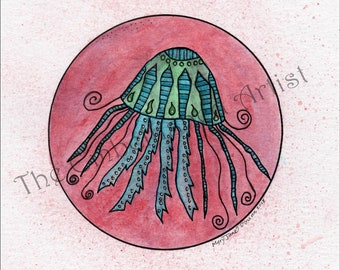 "Original Watercolor Zen Doodle Painting ~ ""Jellyfish"" --- Zentangle Drawing Mixed Media Ocean Animal"
