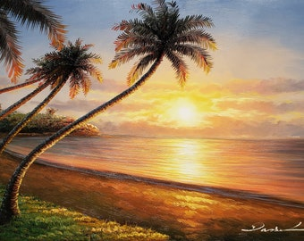 Pacific Island Sunset - #3,  24x36  100% Hand Painted  Oil Painting on Canvas