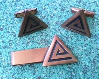 Vintage 1950s Cufflinks Copper Atomic Triangle Modernist MidCentury