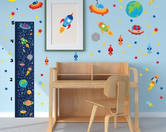 Growth Chart, Space Wall Decals, Outer Space Theme, Space Theme Kids Room, Space Theme Nursery, Outer Space Nursery, Kids Growth Chart