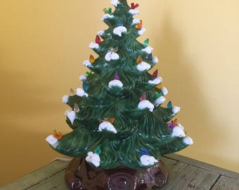 "16"" Vintage Green Lighted Ceramic Christmas Tree with Snow"