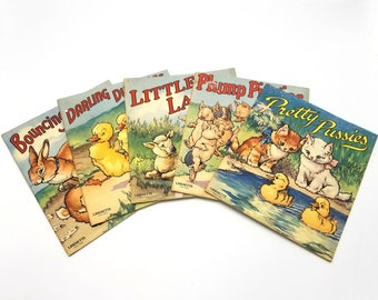Set of 5 Vintage Children's Picture Books by Sam L. Gabriel Sons & Co.  1942 Animals - Ducklings, Bunnies, Lambs, Piglets, Kittens