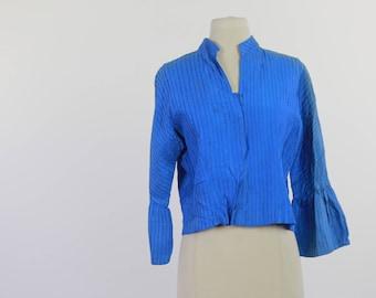 Antique Victorian blue silk blouse bodice