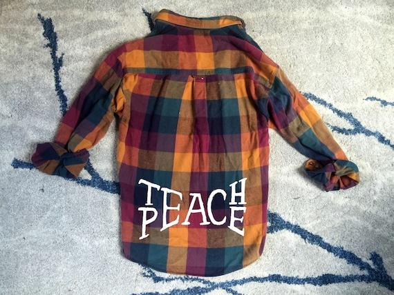Beach Bum Flannel Shirt, Beach Shirt, Vintage Flannel Shirt, VintageChameleon, Bohemian Shirt