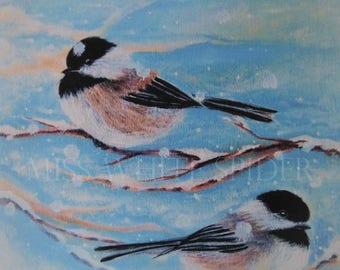 Winter Companions~ Original artwork, digital artwork, Chickadee, snow, painting print