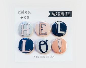 illustrated letters MAGNET SET — hand lettering fridge magnets: HELLO