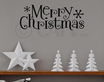 Merry Christmas with snowflakes Vinyl lettering wall decal quote home decor sticker