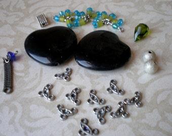 Destash Jewelry Making Elements, Two Black Enamel Heart Beads, Silver Tone Connectors, Supplies, Crafts