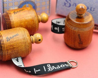 Sajou Wooden Measuring Tape, sewing gift, dressmaker, centimeter, vintage sewing, black ribbon, sewing kit, gift for Mom, Grandma
