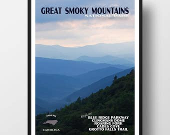 Smoky Mountains Poster, Blue Ridge Parkway, smoky mountains print, smoky mountains national park, national park poster, travel poster