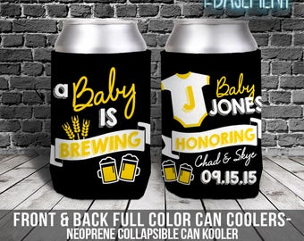 couples baby shower can coolies - baby is brewing beverage insulator - baby shower coolie MCC-050