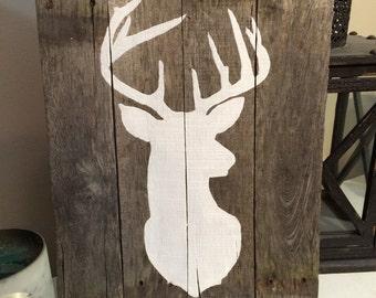 Pallet Wood Deer - Deer on Pallet Wood - Rustic Wood Deer - Rustic Home Decor - Pallet Sign - Deer Wall Art