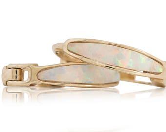 Opal Huggie Hoop Oval Earrings 11mmX2mm 14K Solid Yellow Gold