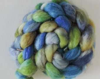 BFL,kid mohair,North Wind, 110gr top, handpainted fiber for spinning