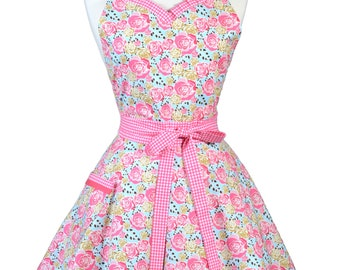 Sweetheart Retro Apron - Pink Rose Floral and Gingham Apron - Womens Flirty Sexy Kitchen Pinup Cute Apron with Pocket - Monogram Option