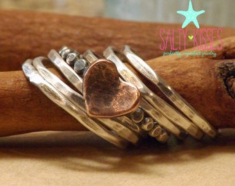 Sterling silver beaded polka dot stacking ring with hammered copper heart and sterling stackers set of 7