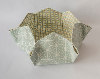 Hexagonal basket, storage, fabric basket printed in green tones