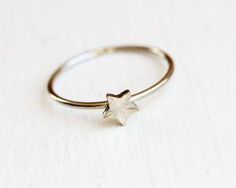 Tiny Silver Starburst Star Ring