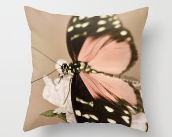 Butterfly pillowcase - Home Decor  - Vintage Photograph throw pillow - Spring Home Decor - girls room