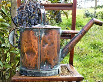 French Vintage Solid Copper Watering Can, Decorative Copper Watering Can, French Copper Ware, French Rustic Home Decor, Primitive Decor,