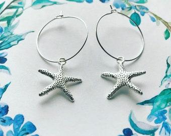 Starfish hoop earrings