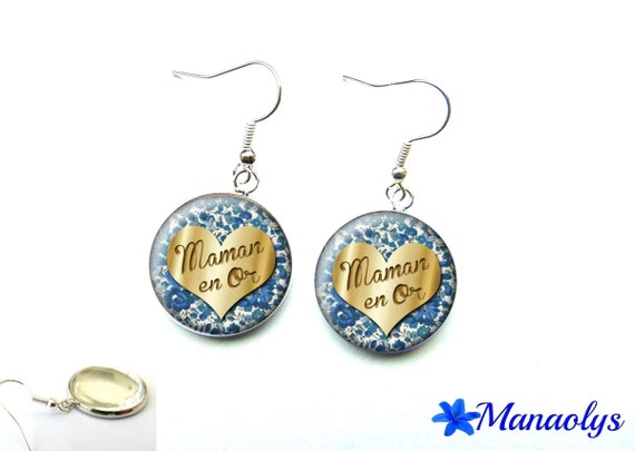 These earrings a MOM in gold, blue flowers, cabochons glass 2809