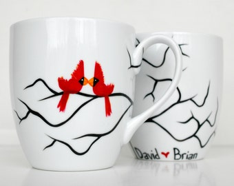 Gay Love Birds Coffee Mugs - Set of 2 Large Mugs