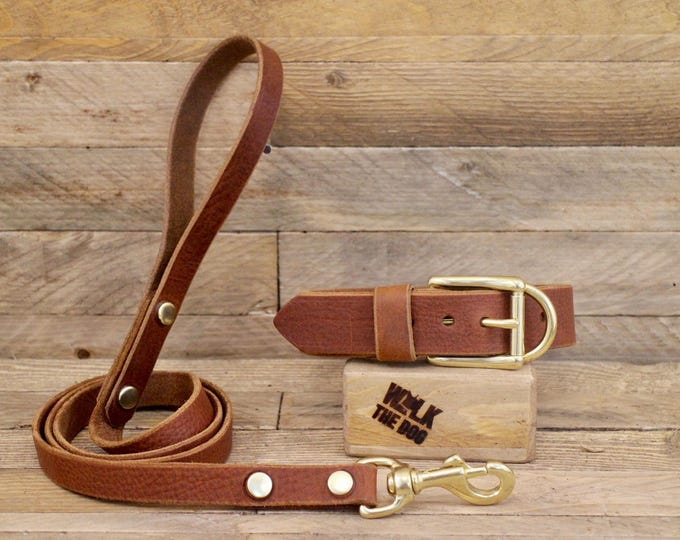 Collar and leash set, Dog collar, Brown leash, Brass hardware, Cowboy brown, FREE ID TAG, Handmade leather collar, Leather leash,